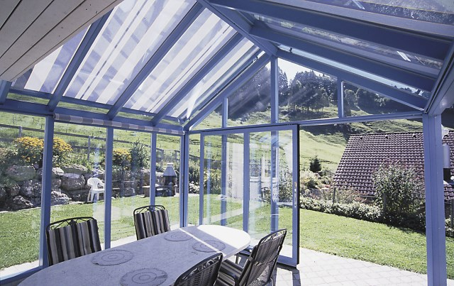 Conservatory Awning with guide rails Airomatic
